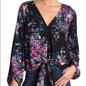 Love Stitch Floral Print Front Tie Blouse Black S